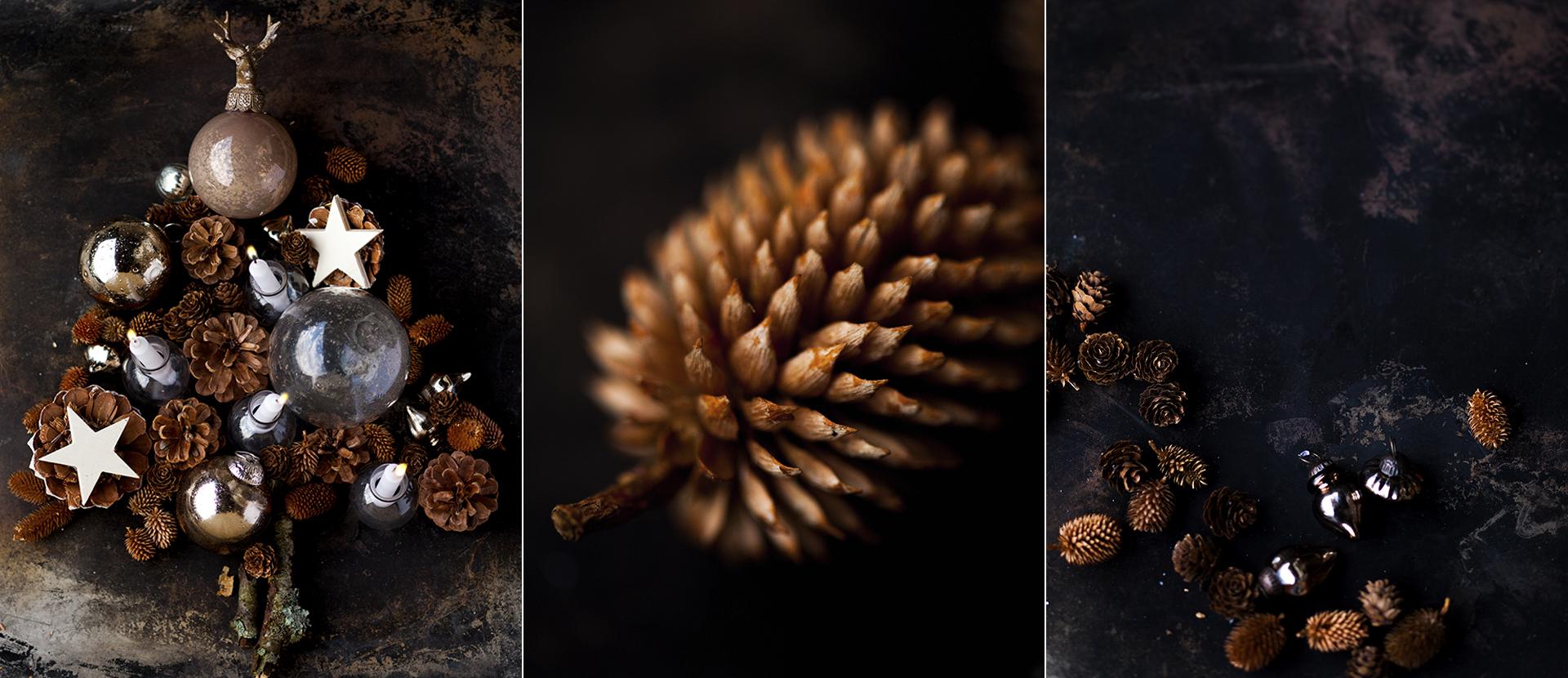 verschiedene Tannenzapfen und Christbaumschmuck Foodfotografie Katrin Winner