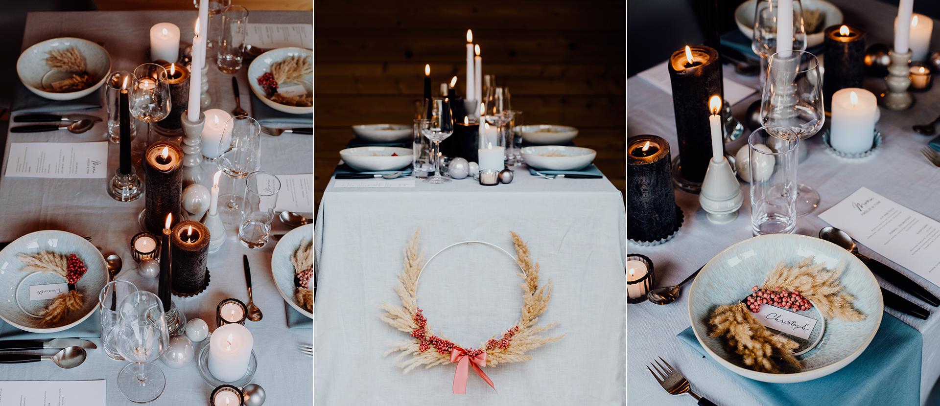 weihnachtlich andekorierter Tisch mit Geschirr, Glaesern, Kerzen und Dekoration von Stylistin Mariska Ruemmelein MooiDekoration und Nicola Honer von Farbgold. Foodfotografie Katrin Winner Muenchen