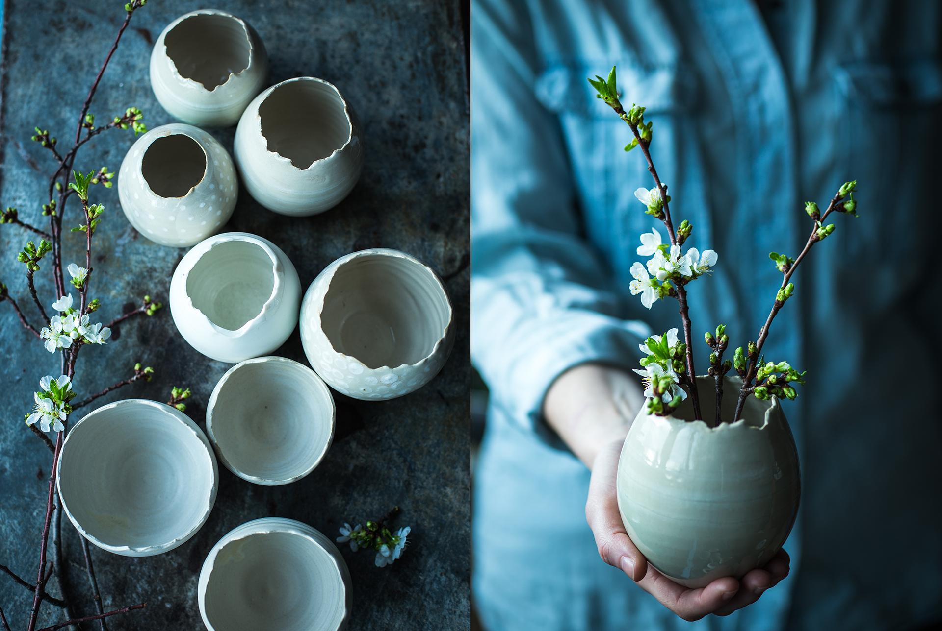 handgemachte Keramik in Ostereierform von Gabi Rittmeier fotografiert von Foodfotografie Katrin Winner