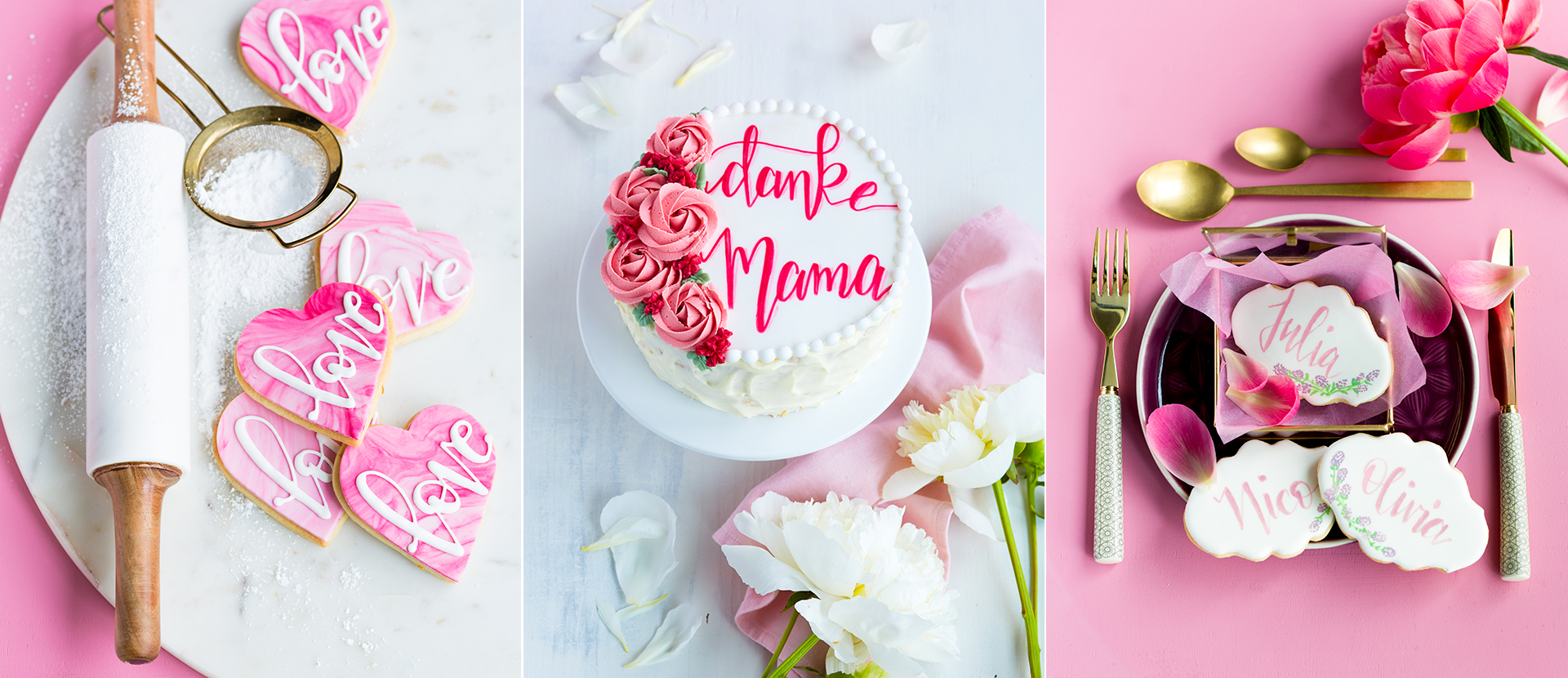 Kekse und Torte beschriftet mit Cakelettering von Stephanie Rinner fotografiert von Katrin Winner