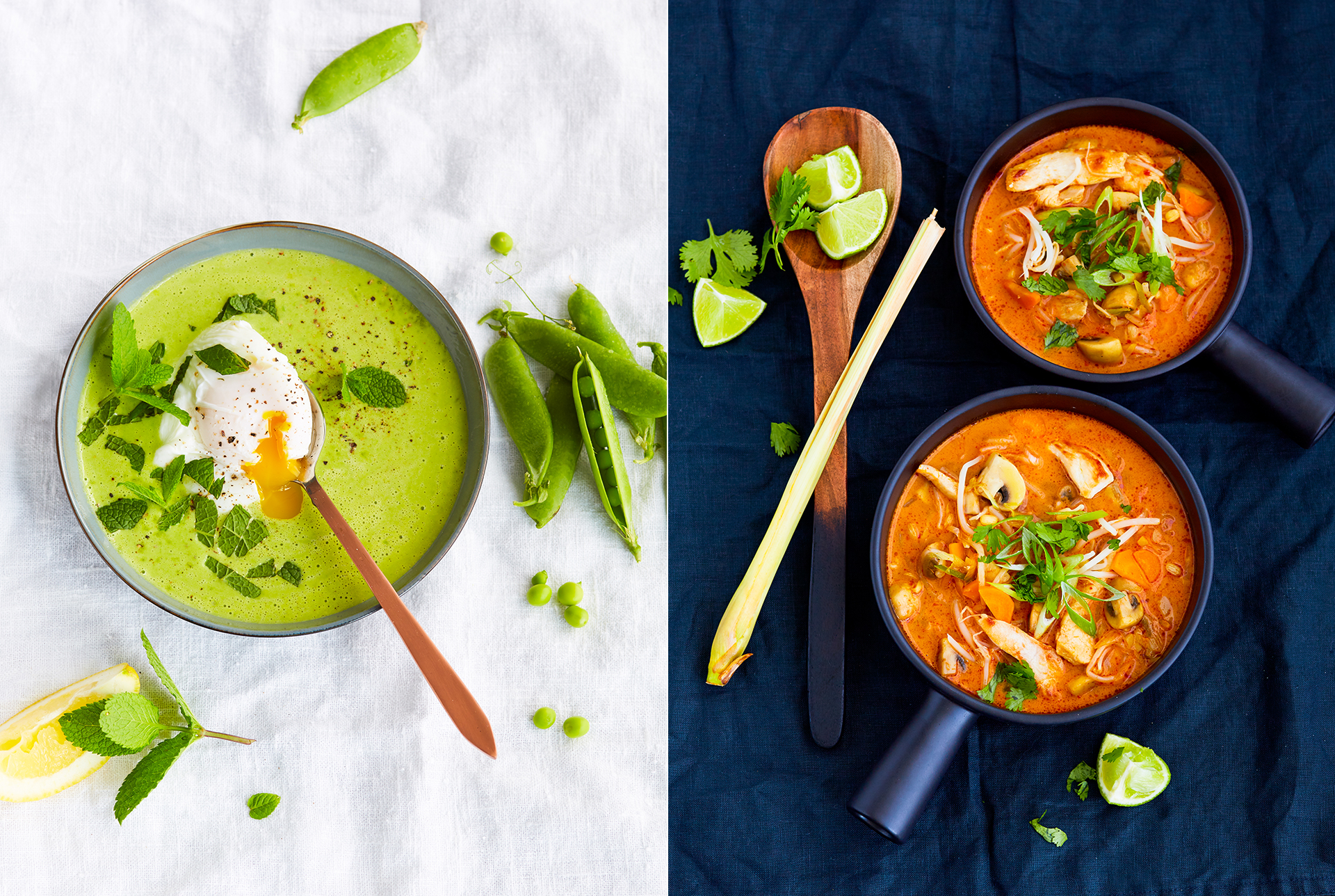 Erbsensuppe mit pochiertem Ei, Minze und frischer Zitrone. Kokoscurrysuppe mit Zitronengras und Limette. Foodphotography Foodstyling Katrin Winner