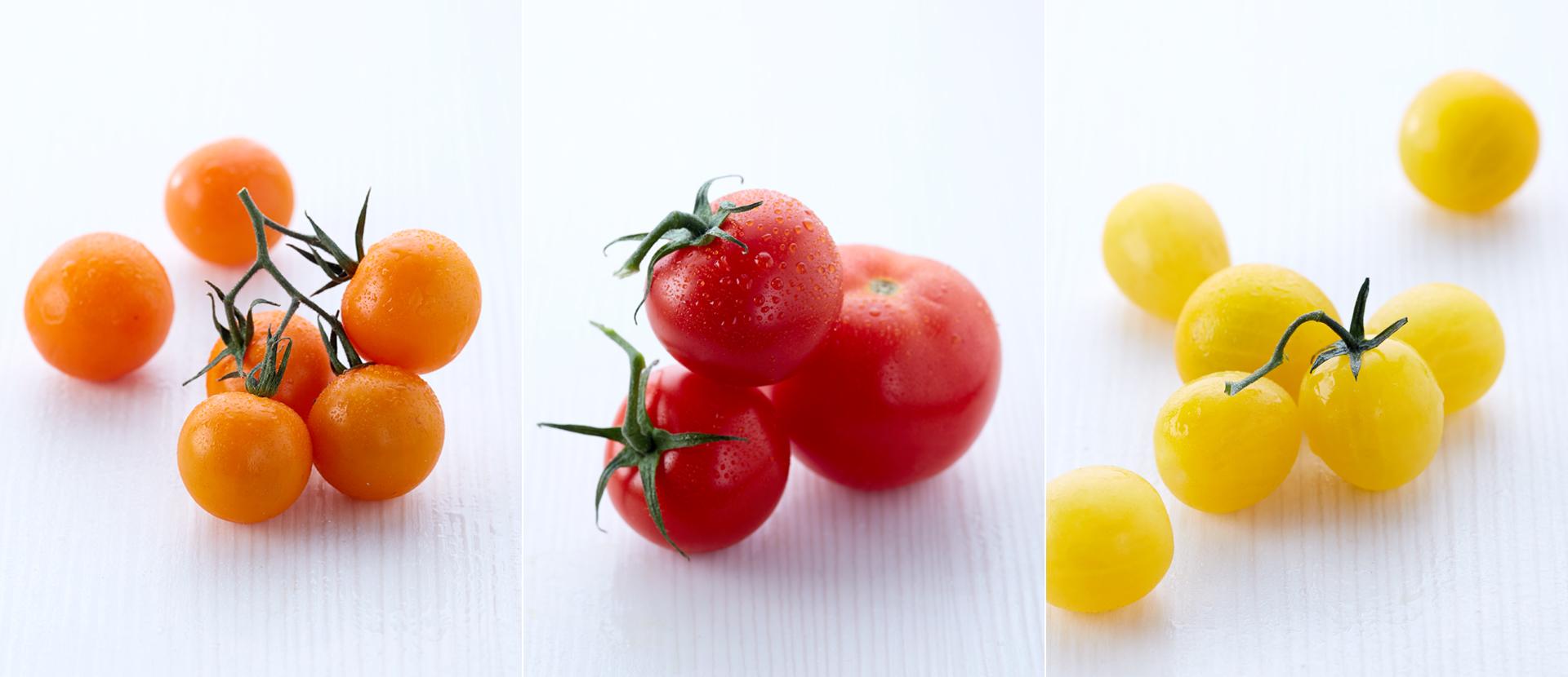 Orange, rote und gelbe Tomaten auf weiss fotografiert von Katrin Winner