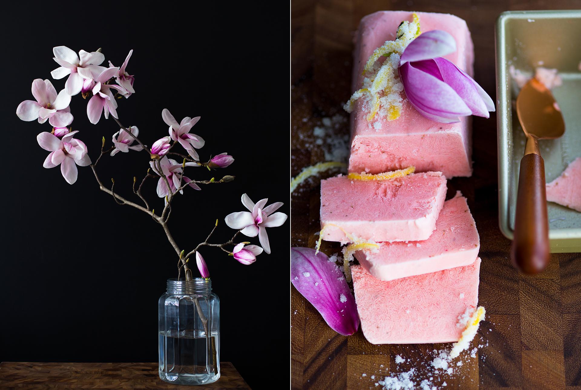 Zweig eines Magnolienbaumes in einer Vase. Himbeersorbet aus einer Kastenform mit gezuckerten Zitronenzesten und Magnolienblaetter