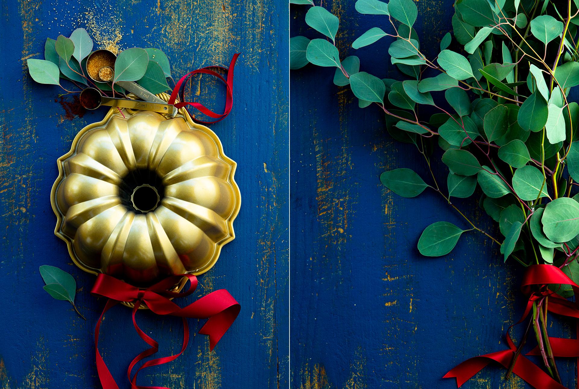 weihnachtliches Arrangement mit Nordicware Backform fotografiert von Katrin Winner Foodphotography Muenchen