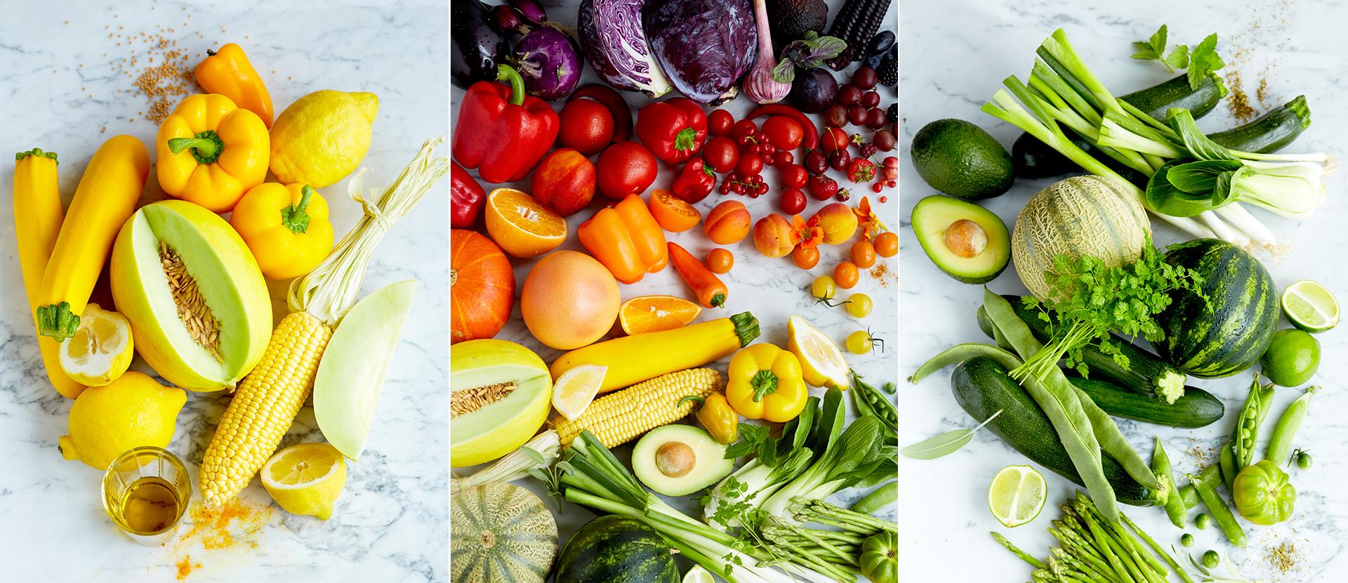 Rainbow-Food - Obst und Gemuesesorten in Regenbogen-Farben angeordnet