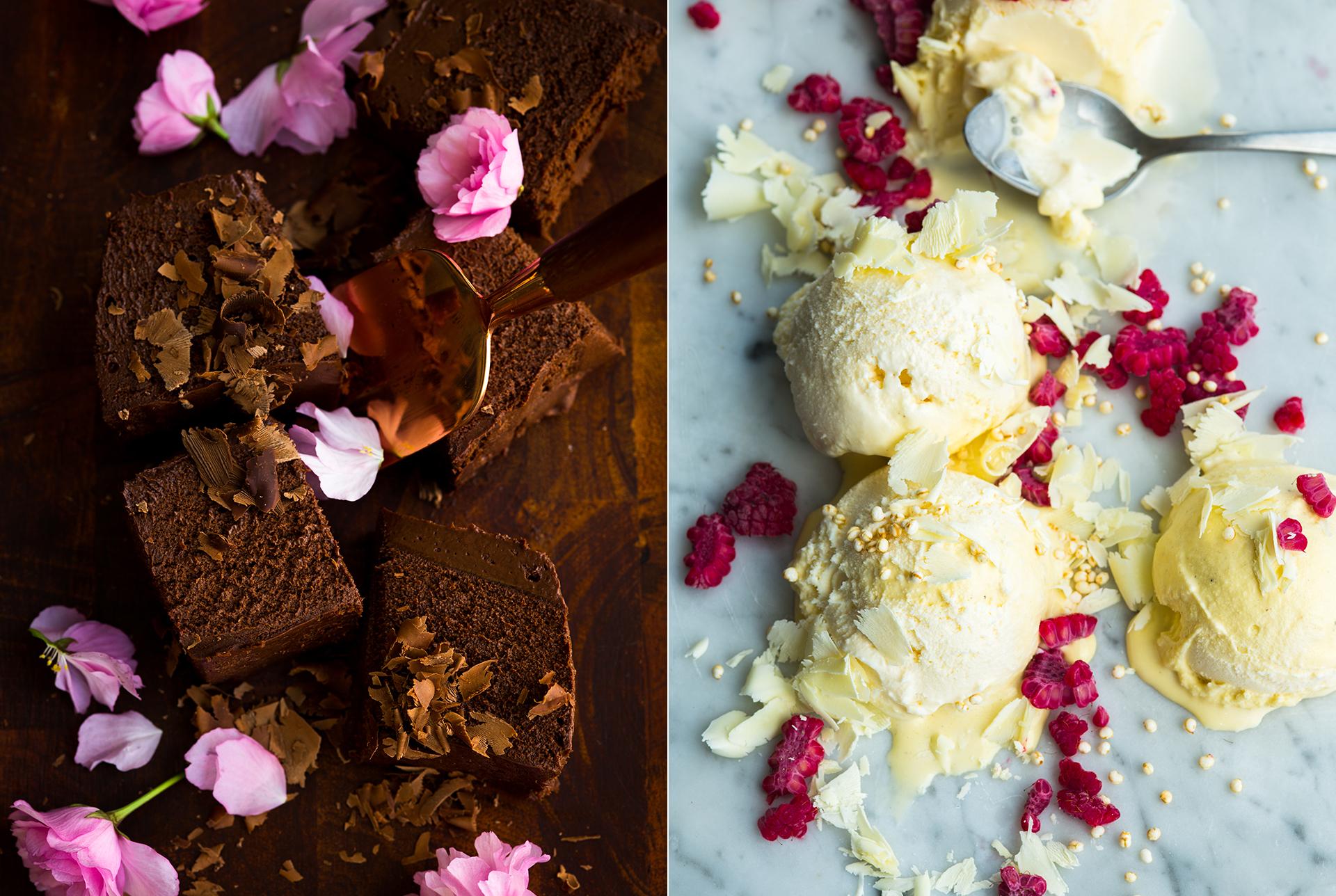 Schokoladeneis mit Schokoladenspaene und Rosenblaettern. Vanilleeis mit gepufften Quinoa und gefrorenen HImbeerstueckchen