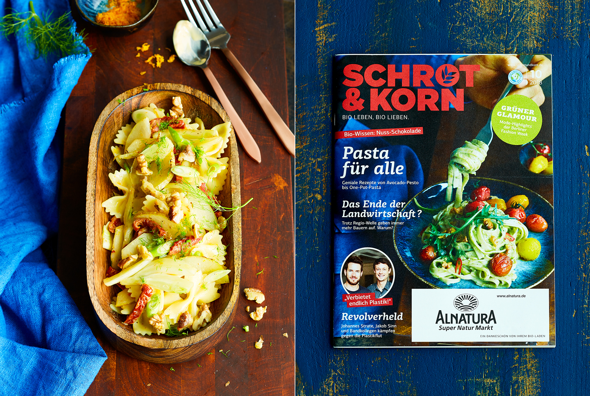 Rezeptaufnahme von Farfallenudeln mit Dill, getrockneten Tomaten und Walnuessen.  Cover Schrot und Korn Ausgabe 10/2018