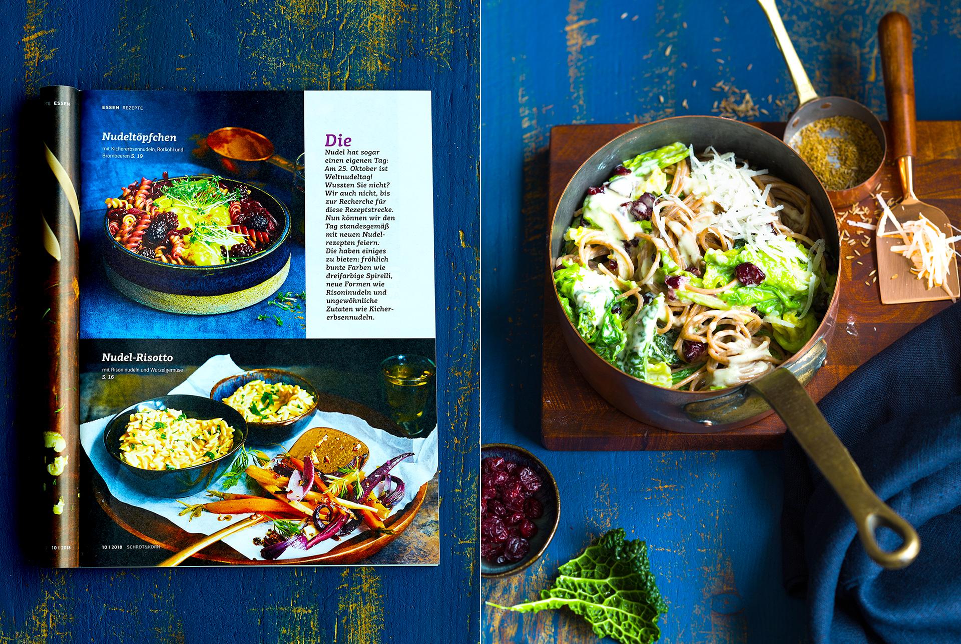 Schrot und Korn Ausgabe 10/2018. One-Pot Nudeltopf mit Spaghetti, Mascarpone, Cranberry, Wirsing und Parmesan fotografiert von Katrin Winner