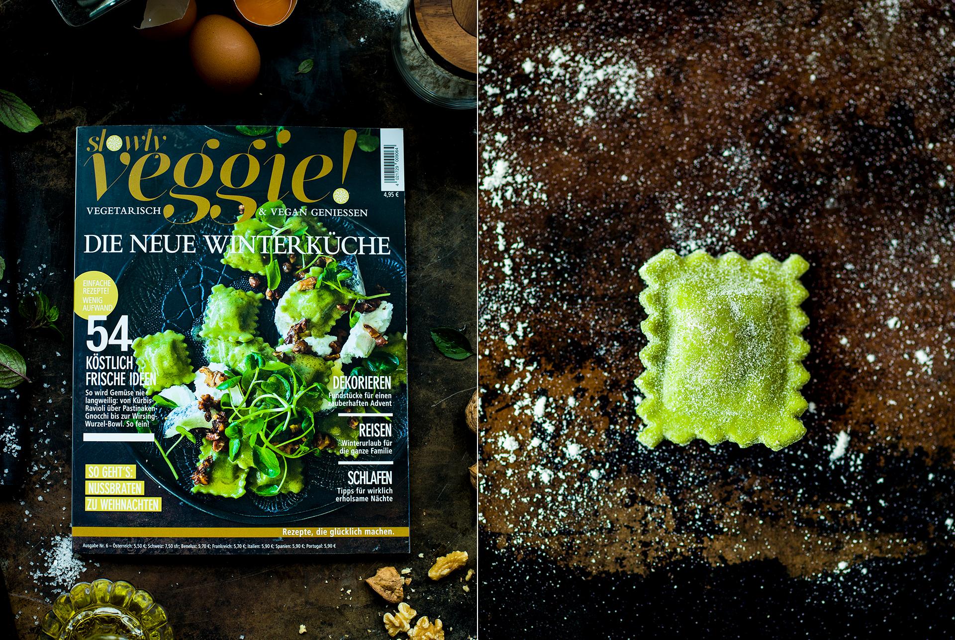 Slowly Veggie Ausgabe 06/2018 gefuellte Ravioli mit Brunnenkresse, Walnuesse und Ziegenkaese mit Asche fotografiert von Foodfotografie Katrin Winner