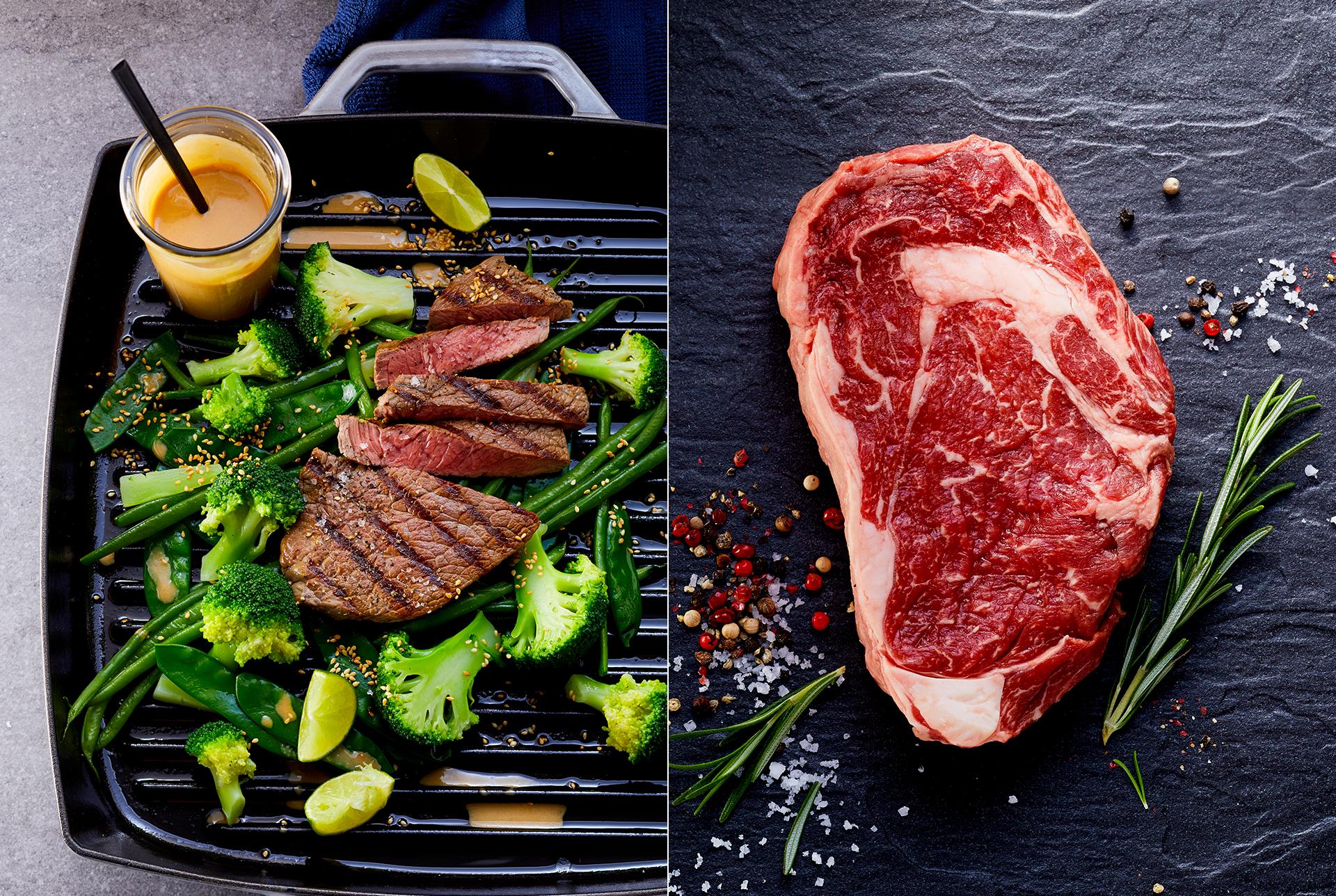 rohes Fleisch auf dunkler Schieferplatte mit buntem Pfeffer, Salz und Rosmarin. gebratenes Steak mit Brokkoli, Erbsen und Zuckerschoten in einer Gusseisernen Pfanne mit Erdnusssauce