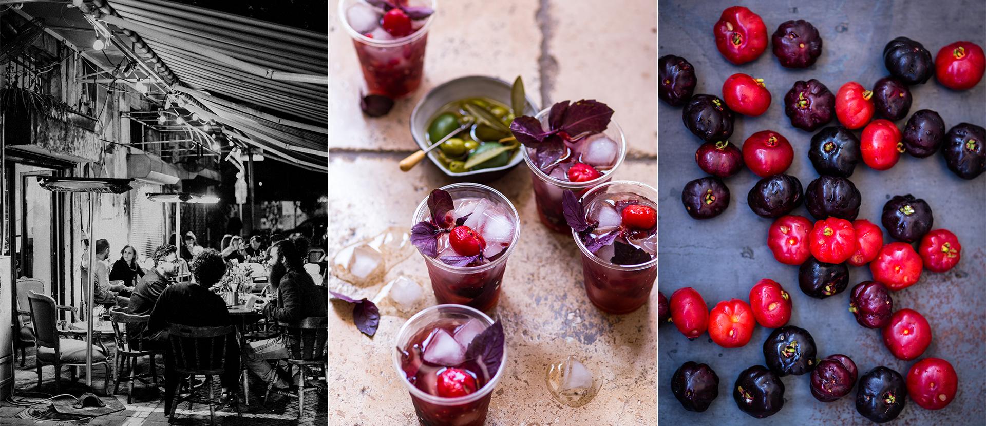 Drinks mit Eiswuerfeln und roten Beeren. Arrangement mit roten Beeren. Abendstimmung in TelAviv