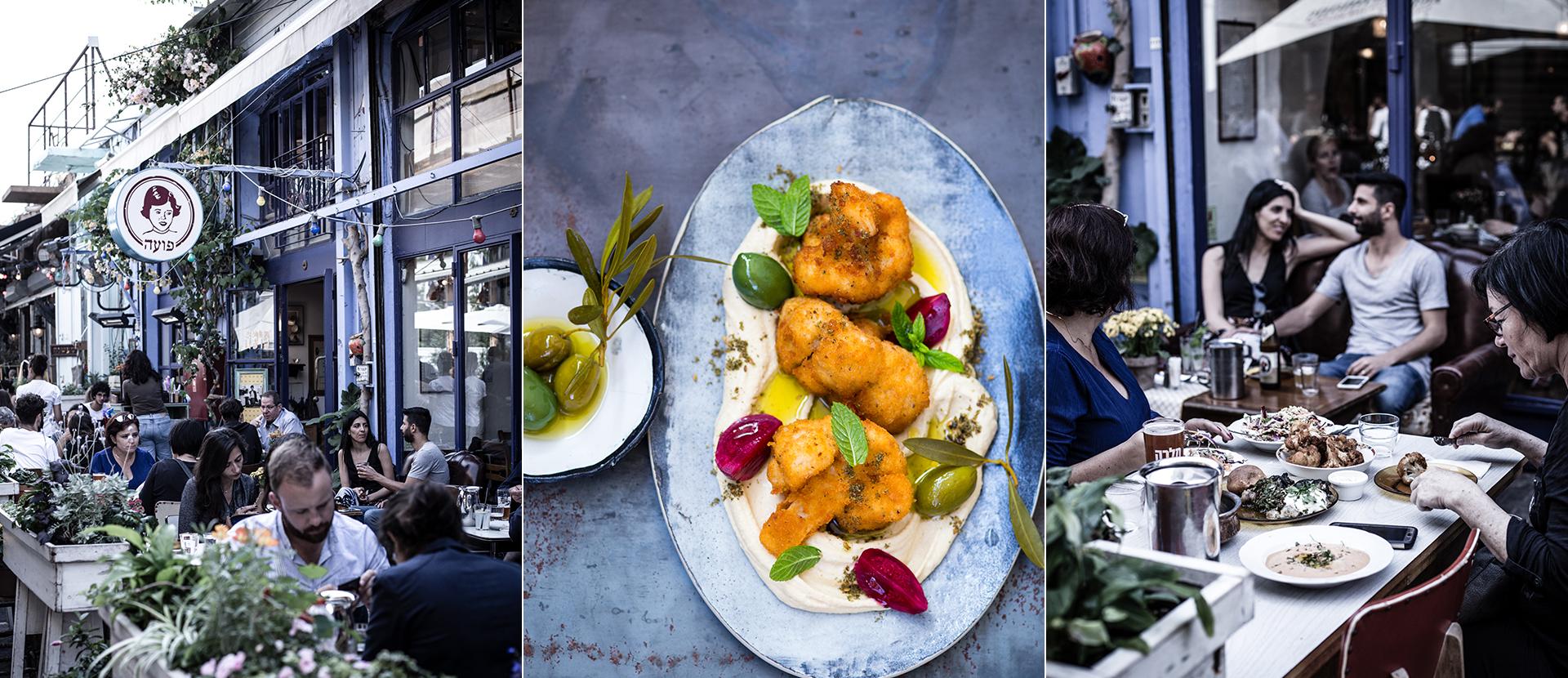 Terrasse mit Personen beim Essen in einem Lokal in TelAviv. Teller mit Hummus, frittierten Blumenkohl, Oliven und Minze