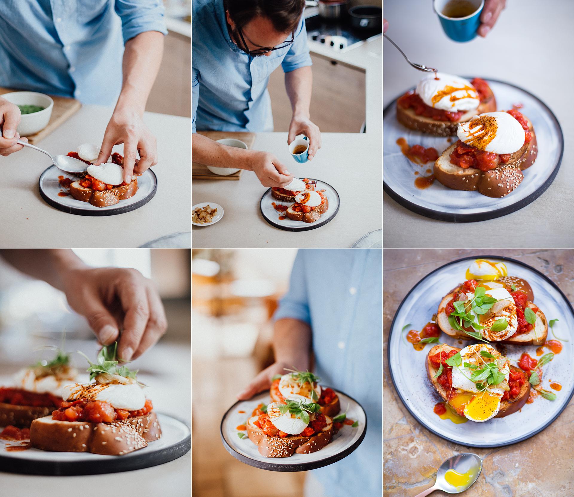Foodstylist Michael Koch richtet juedisches Brot mit gekochten Tomaten, Salatblaettchen und  pochiertem Ei an. Reportagefotografie