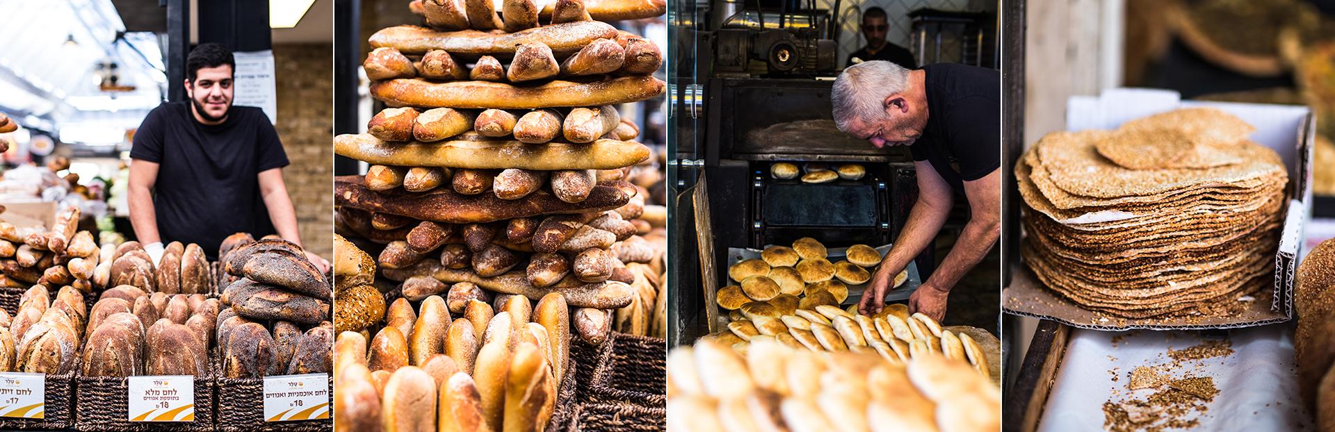 Baecker in einer Markthalle in Jerusalem. Verschiedene Brotsorten. Herstellung von Brot