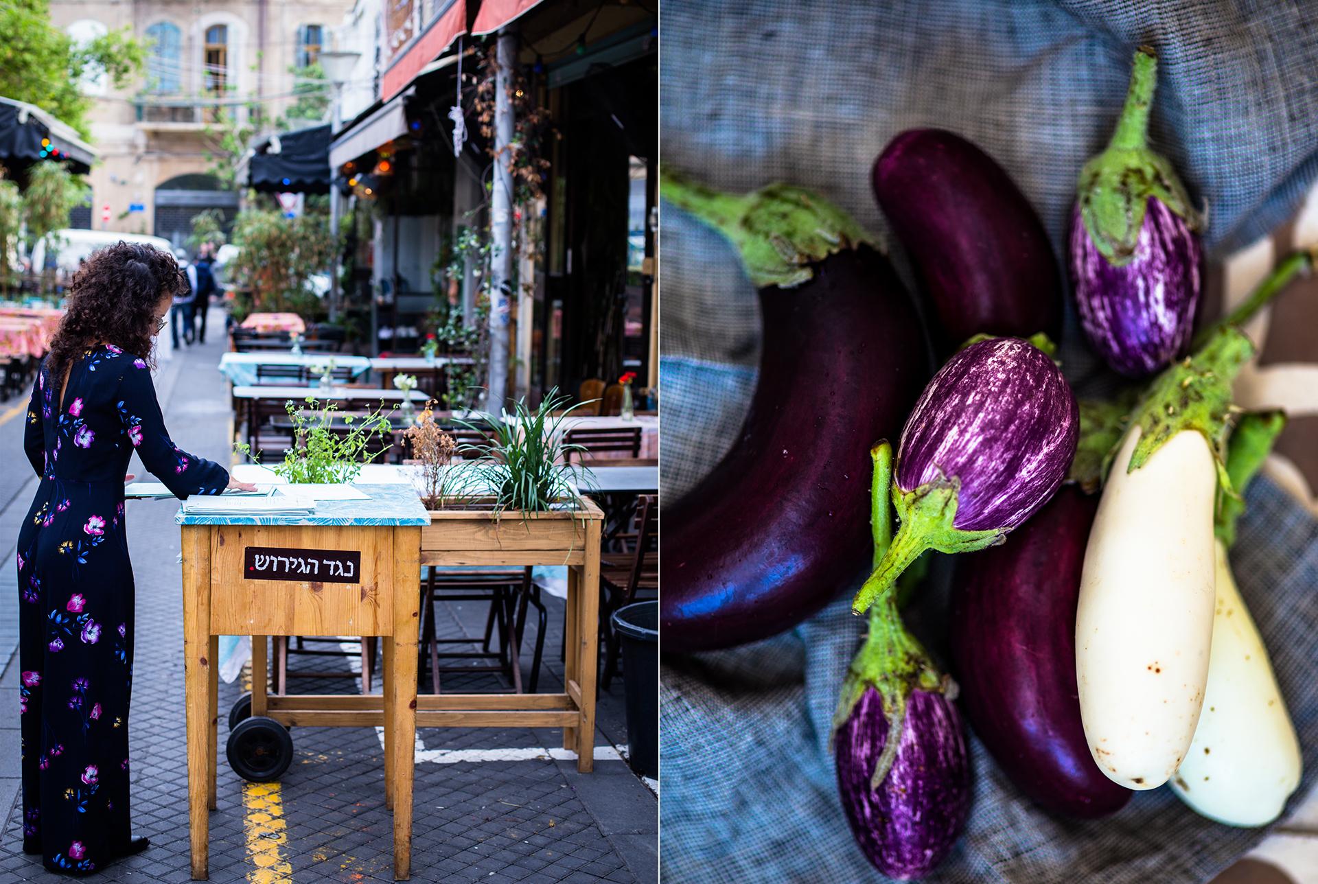Reportagefotografie - Stillleben verschiedene Auberginensorten. Frau im schwarzen Jumpsuit vor einem Lokal im Jaffa Fleamarket in TelAviv