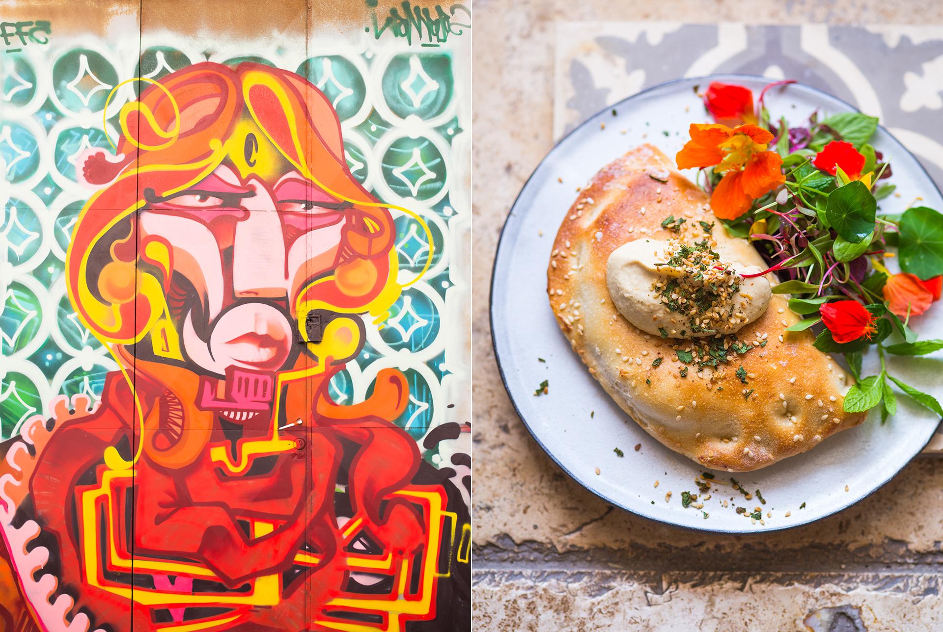 Reportagefotografie - isralelisches Brot mit Humus, Kapuzinerkresse und Kraeutersalat. Graffitti an einer Hausmauer in TelAviv