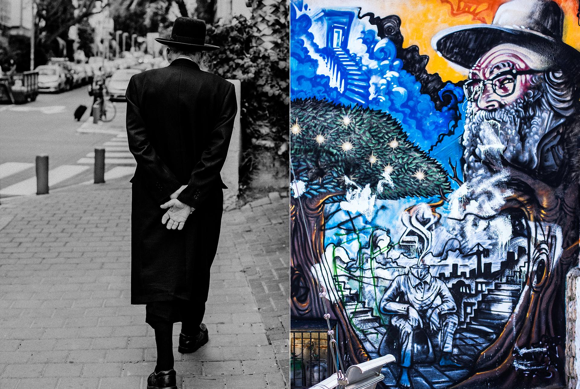 Ultraorthodoxer juedischer Mann von hinten mit langem schwarzen Mantel und schwarzen Hut. Graffiti an einer hausmauer in TelAviv.
