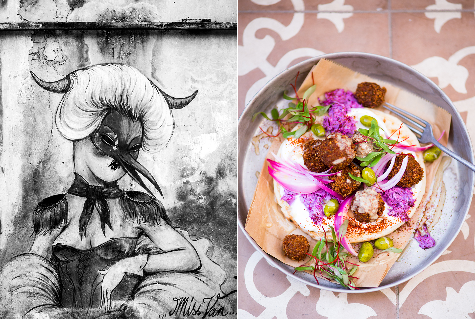 Brot mit Joghurt, Falafeln, rote Zwiebeln, Rotkraut, Oliven und Salatblaettern. Hauswand in TelAviv mit Graffiti - Reportagefotografie